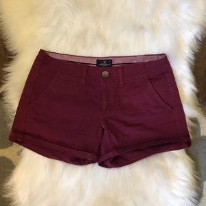 AE Burgundy Mid-Rise Twill Shorts